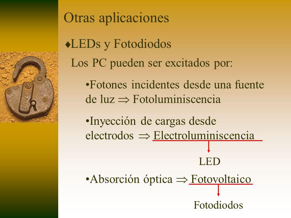 Otras aplicaciones LEDs y Fotodiodos Los PC pueden ser excitados por: Fotones incidentes desde una fuente de luz Fotoluminiscencia Inyección de cargas