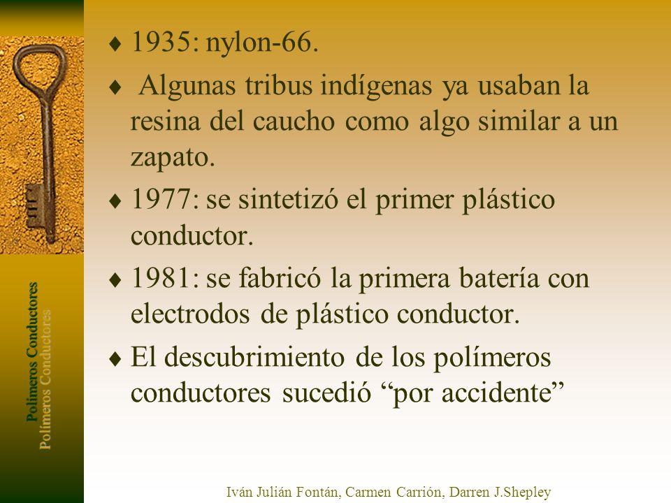 Polímeros Conductores Iván Julián Fontán, Carmen Carrión, Darren J.Shepley 1935: nylon-66. Algunas tribus indígenas ya usaban la resina del caucho com