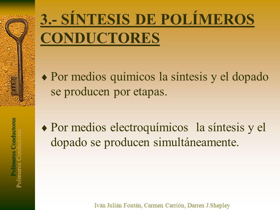 Polímeros Conductores Iván Julián Fontán, Carmen Carrión, Darren J.Shepley 3.- SÍNTESIS DE POLÍMEROS CONDUCTORES Por medios químicos la síntesis y el