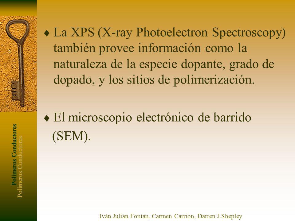 Polímeros Conductores Iván Julián Fontán, Carmen Carrión, Darren J.Shepley La XPS (X-ray Photoelectron Spectroscopy) también provee información como l