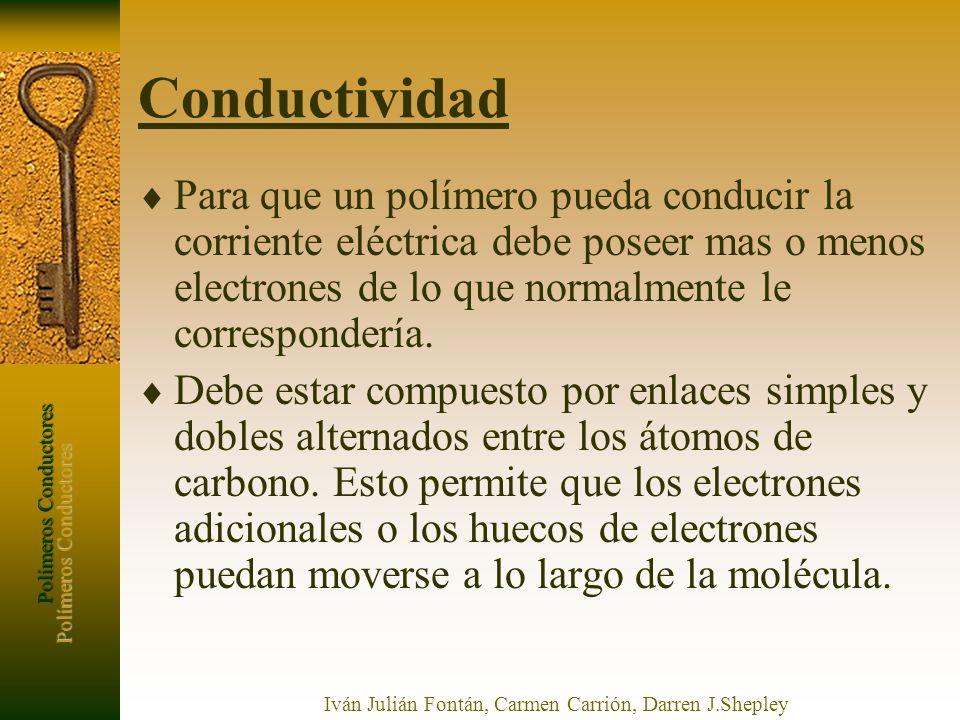 Polímeros Conductores Iván Julián Fontán, Carmen Carrión, Darren J.Shepley Conductividad Para que un polímero pueda conducir la corriente eléctrica de
