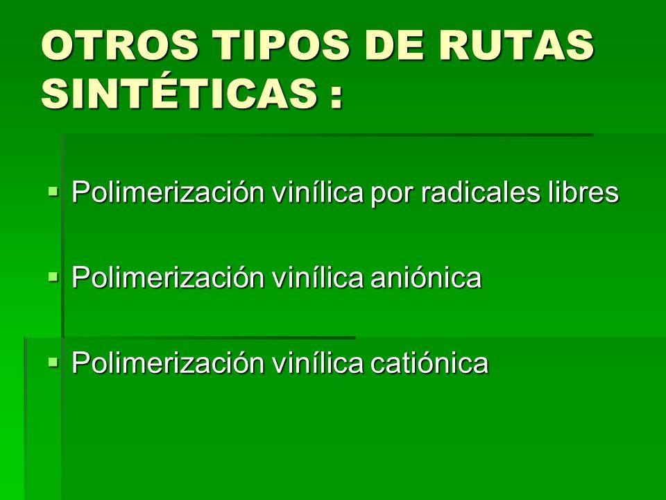 OTROS TIPOS DE RUTAS SINTÉTICAS : Polimerización vinílica por radicales libres Polimerización vinílica por radicales libres Polimerización vinílica an