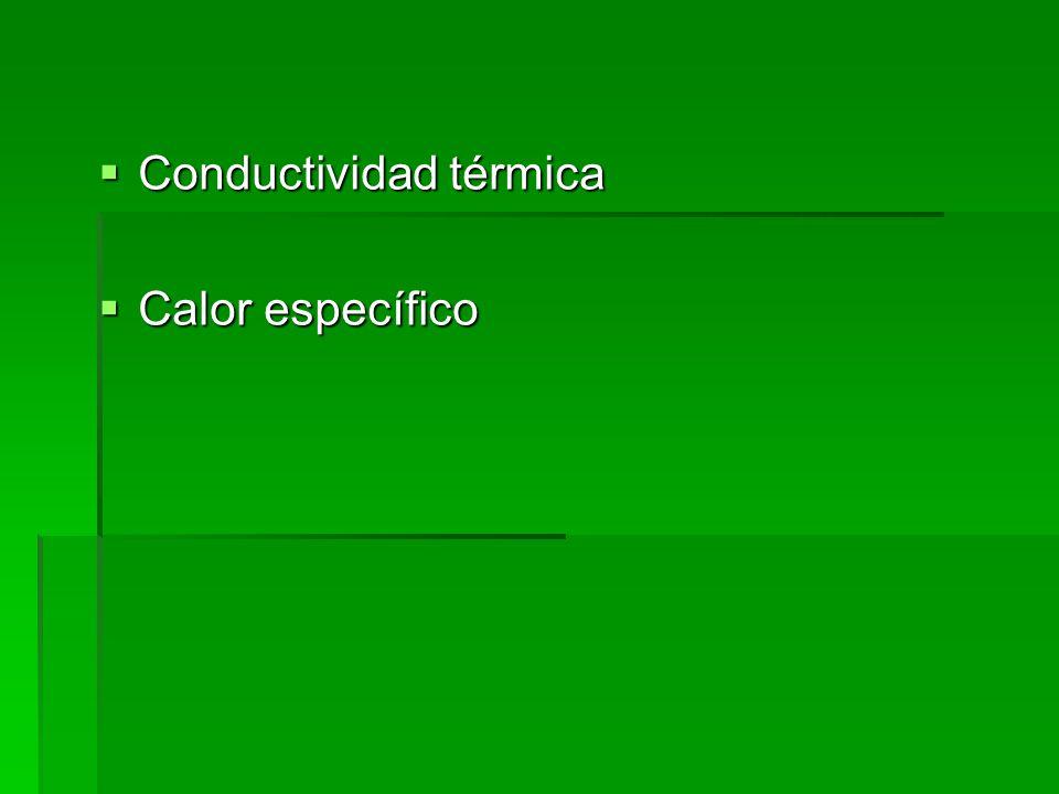 Conductividad térmica Conductividad térmica Calor específico Calor específico