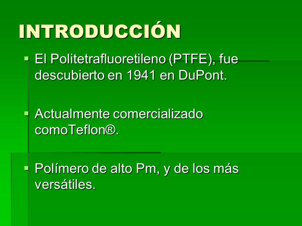 INTRODUCCIÓN El Politetrafluoretileno (PTFE), fue descubierto en 1941 en DuPont. El Politetrafluoretileno (PTFE), fue descubierto en 1941 en DuPont. A