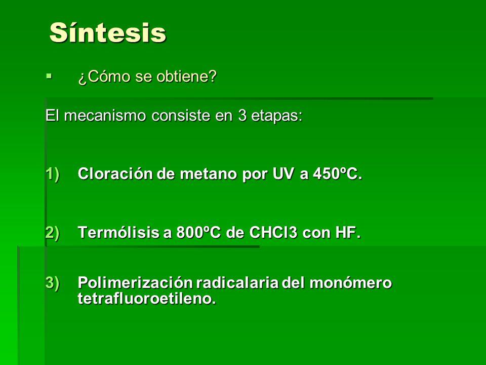 ETAPAS 1 Y 2: CH 4 + Cl 2 CHCl 3 ( UV a 450ºC) CHCl 3 + HF 2 HClF 2 F 2 C=CF 2 + HCl