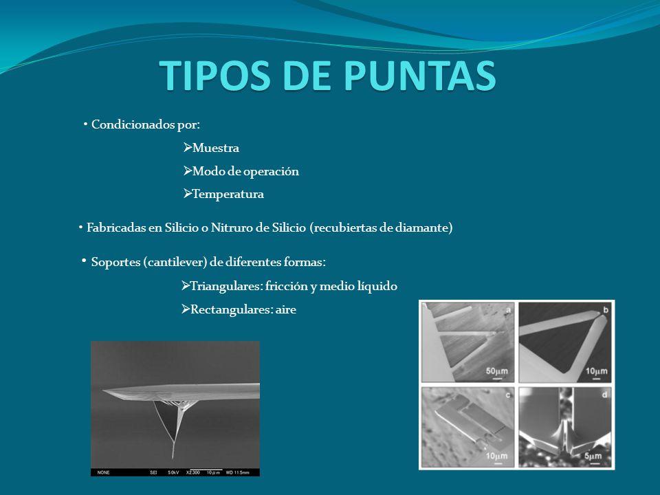 TIPOS DE PUNTAS Condicionados por: Muestra Modo de operación Temperatura Fabricadas en Silicio o Nitruro de Silicio (recubiertas de diamante) Soportes