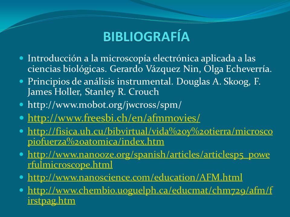 BIBLIOGRAFÍA Introducción a la microscopía electrónica aplicada a las ciencias biológicas. Gerardo Vázquez Nin, Olga Echeverría. Principios de análisi