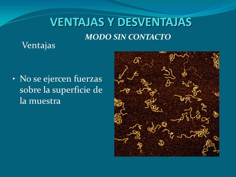 VENTAJAS Y DESVENTAJAS No se ejercen fuerzas sobre la superficie de la muestra MODO SIN CONTACTO Ventajas