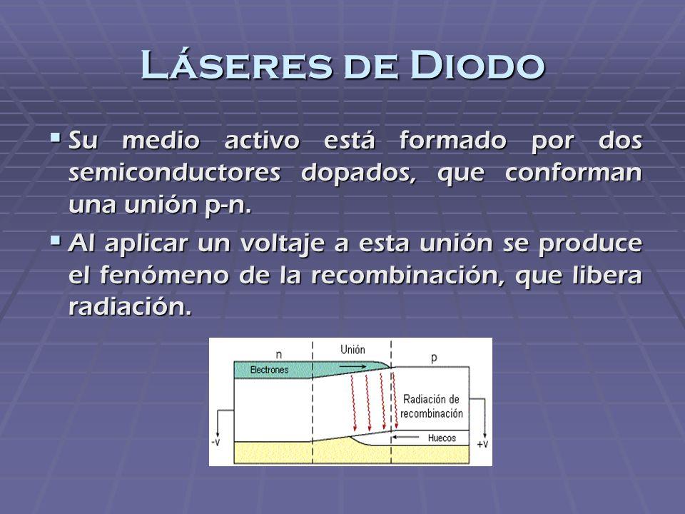 Láseres de Diodo Su medio activo está formado por dos semiconductores dopados, que conforman una unión p-n. Su medio activo está formado por dos semic