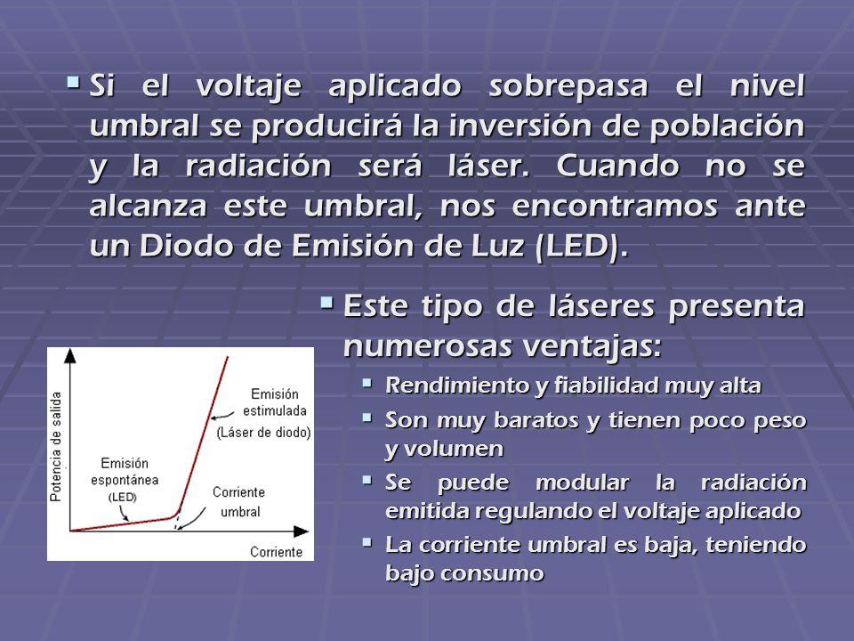 Si el voltaje aplicado sobrepasa el nivel umbral se producirá la inversión de población y la radiación será láser. Cuando no se alcanza este umbral, n