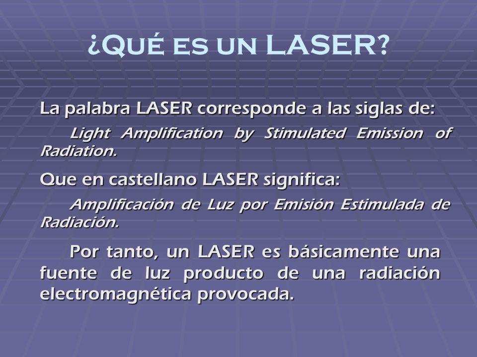 Láseres de Gas Láser Atómico Gas Monoatómico Neutro: Láser de Vapor de Cobre Emite en el visible, con longitud de onda 1=510,6nm (verde) 2=578,2nm (amarillo) Aplicaciones: Fuente de Bombeo para Láseres de Colorante Iluminación de Objetos en Fotografía de Alta Velocidad Identificación de Huellas Dactilares y Trazas de Elementos Terapia Fotodinámica Láser Iónico Gas Ionizado (Plasma): Láser de Gas de Ión Argón Emite en el Visible y UV, con longitud de onda Azul 0.488 [µm] Verde 0.5145 [µm] 0.3511 [µm] 0.3638 [µm] Aplicaciones: Fuente de Bombeo para Láseres de Colorante Entretenimiento (Holografía) Cirugía General Oftalmología Láser Molecular Gas Compuesto por Moléculas de Gas Neutro: Dióxido de Carbono Emite en la Región Infrarroja 9-11 micrómetros