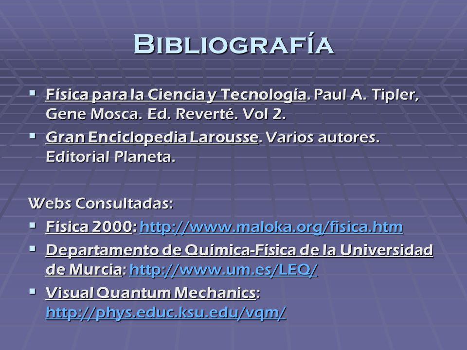 Bibliografía Física para la Ciencia y Tecnología. Paul A. Tipler, Gene Mosca. Ed. Reverté. Vol 2. Física para la Ciencia y Tecnología. Paul A. Tipler,