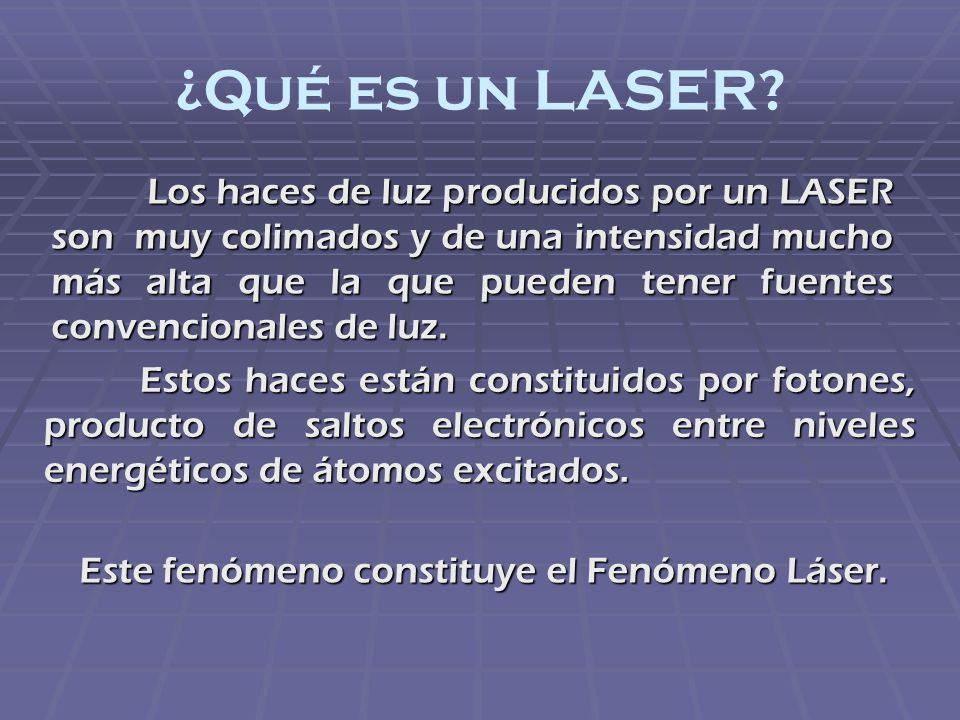 ¿Qué es un LASER? Los haces de luz producidos por un LASER son muy colimados y de una intensidad mucho más alta que la que pueden tener fuentes conven