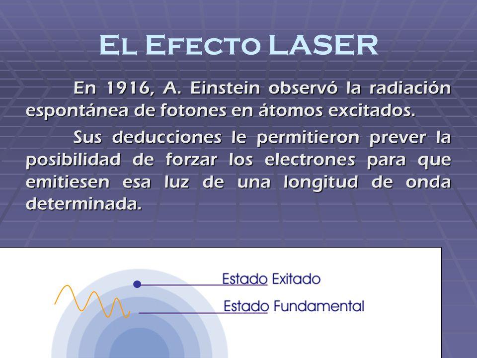 El Efecto LASER En 1916, A. Einstein observó la radiación espontánea de fotones en átomos excitados. Sus deducciones le permitieron prever la posibili