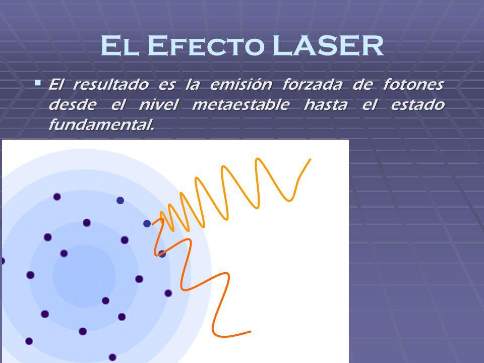 El Efecto LASER El resultado es la emisión forzada de fotones desde el nivel metaestable hasta el estado fundamental. El resultado es la emisión forza