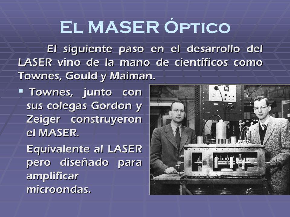 El MASER Óptico El siguiente paso en el desarrollo del LASER vino de la mano de científicos como Townes, Gould y Maiman. Townes, junto con sus colegas