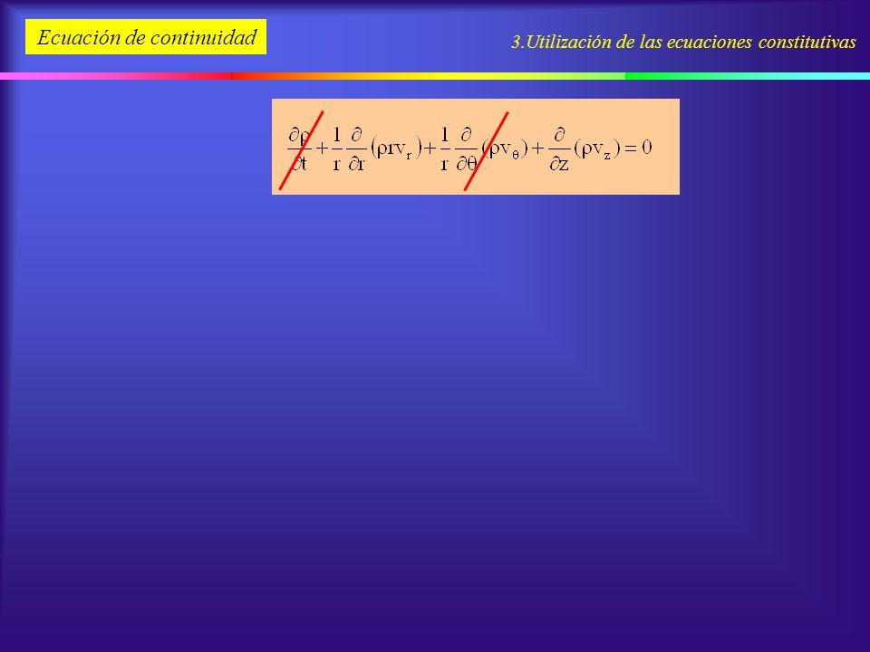 Ecuación de continuidad 3.Utilización de las ecuaciones constitutivas