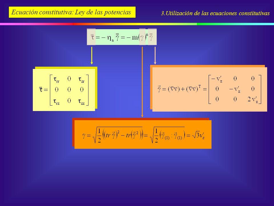 3.Utilización de las ecuaciones constitutivas Ecuación constitutiva: Ley de las potencias