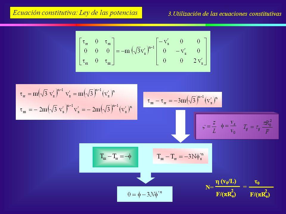 3.Utilización de las ecuaciones constitutivas Ecuación constitutiva: Ley de las potencias N= F/( R o ) 2 (v 0 /L) F/( R o ) 2 0 =