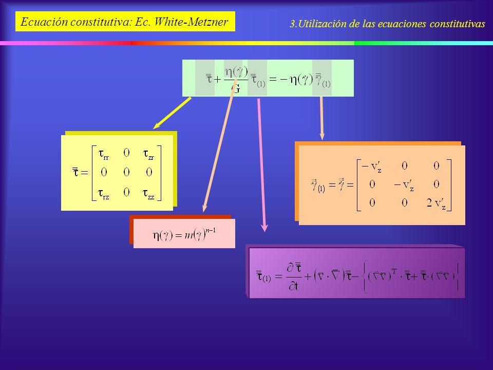 3.Utilización de las ecuaciones constitutivas Ecuación constitutiva: Ec. White-Metzner