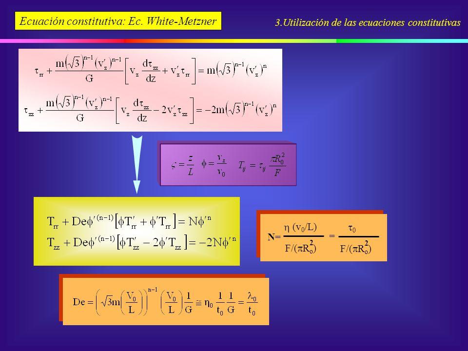 3.Utilización de las ecuaciones constitutivas Ecuación constitutiva: Ec. White-Metzner N= F/( R o ) 2 (v 0 /L) F/( R o ) 2 0 =