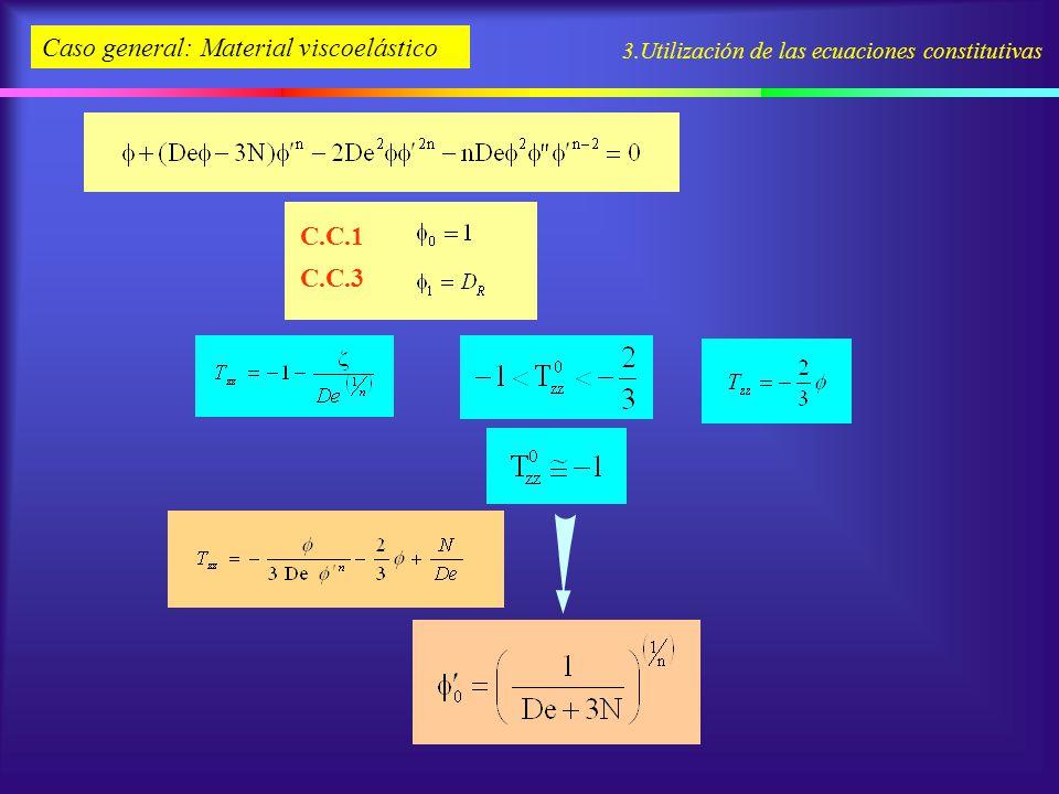 3.Utilización de las ecuaciones constitutivas Caso general: Material viscoelástico C.C.1 C.C.3
