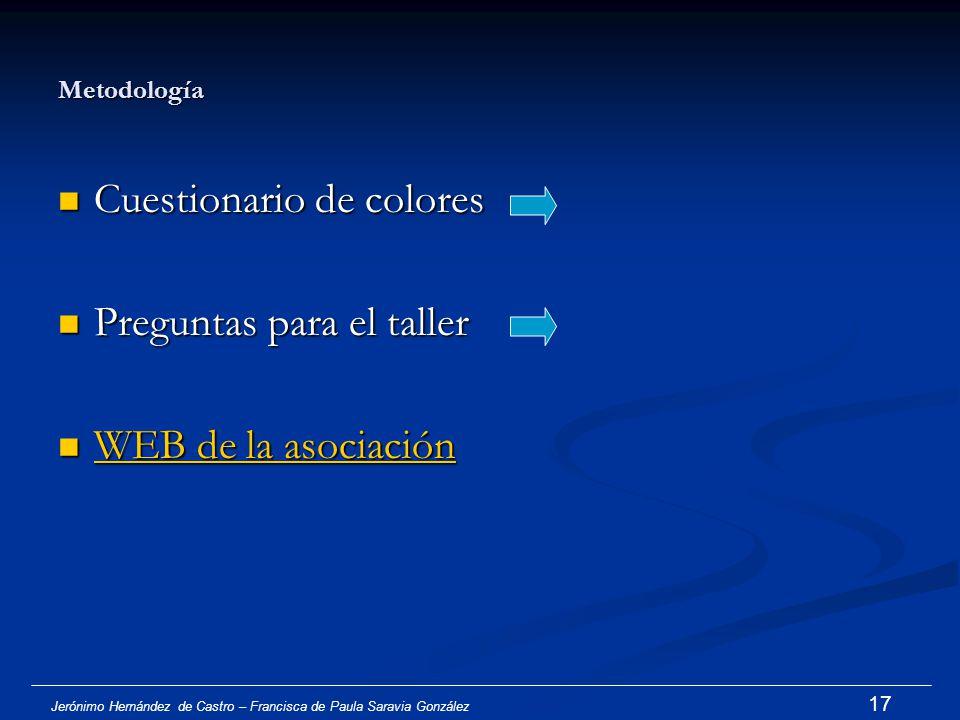 Jerónimo Hernández de Castro – Francisca de Paula Saravia González 16 Objetivos generales del taller Conocer la realidad actual de los colores como sí