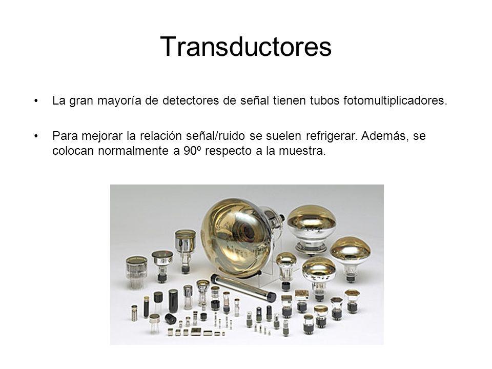 Transductores La gran mayoría de detectores de señal tienen tubos fotomultiplicadores.