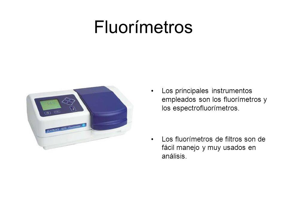 Fluorímetros Los principales instrumentos empleados son los fluorímetros y los espectrofluorímetros.