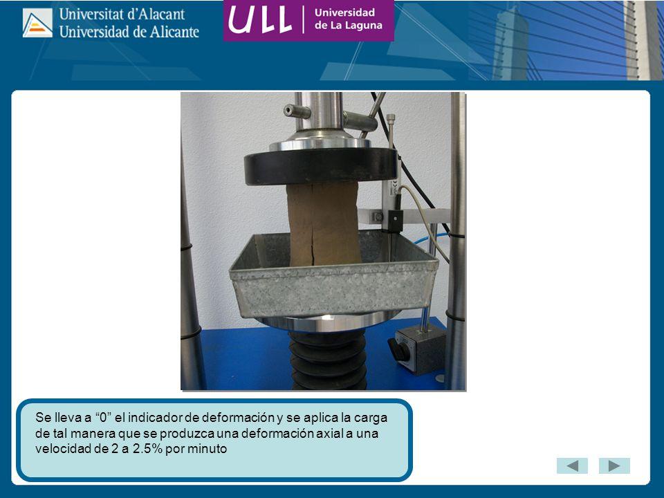 Se lleva a 0 el indicador de deformación y se aplica la carga de tal manera que se produzca una deformación axial a una velocidad de 2 a 2.5% por minuto