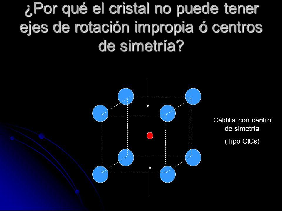 ¿Por qué el cristal no puede tener ejes de rotación impropia ó centros de simetría.