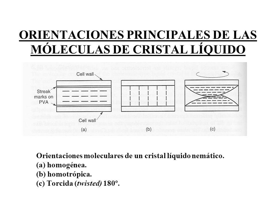 ORIENTACIONES PRINCIPALES DE LAS MÓLECULAS DE CRISTAL LÍQUIDO Orientaciones moleculares de un cristal líquido nemático. (a) homogénea. (b) homotrópica