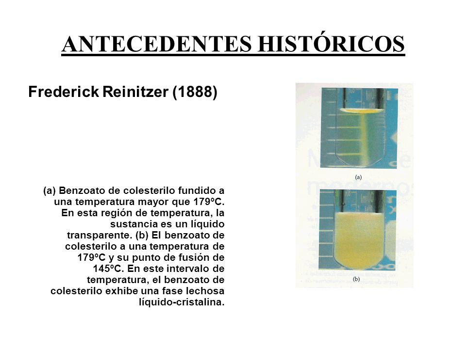 ANTECEDENTES HISTÓRICOS Frederick Reinitzer (1888) (a) Benzoato de colesterilo fundido a una temperatura mayor que 179ºC.