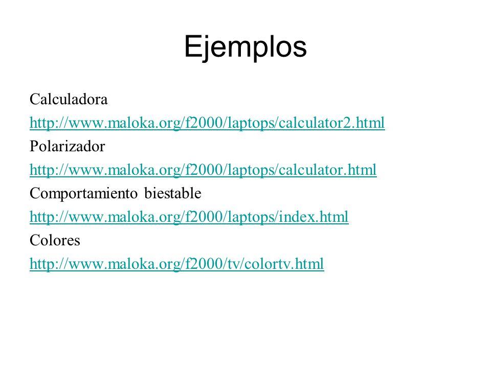 Ejemplos Calculadora http://www.maloka.org/f2000/laptops/calculator2.html Polarizador http://www.maloka.org/f2000/laptops/calculator.html Comportamiento biestable http://www.maloka.org/f2000/laptops/index.html Colores http://www.maloka.org/f2000/tv/colortv.html