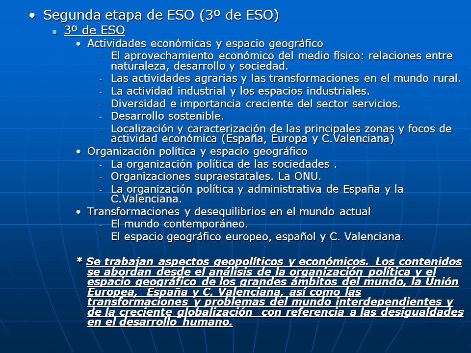 Segunda etapa de ESO (3º de ESO)Segunda etapa de ESO (3º de ESO) 3º de ESO 3º de ESO Actividades económicas y espacio geográficoActividades económicas
