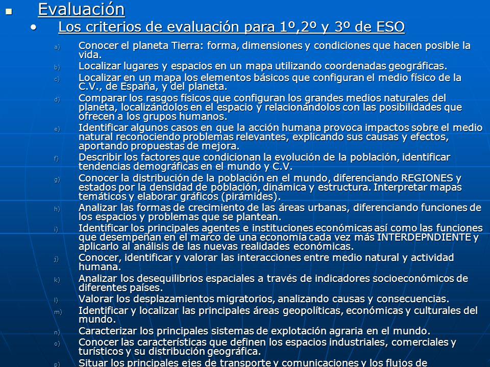 Evaluación Evaluación Los criterios de evaluación para 1º,2º y 3º de ESOLos criterios de evaluación para 1º,2º y 3º de ESO a) Conocer el planeta Tierr
