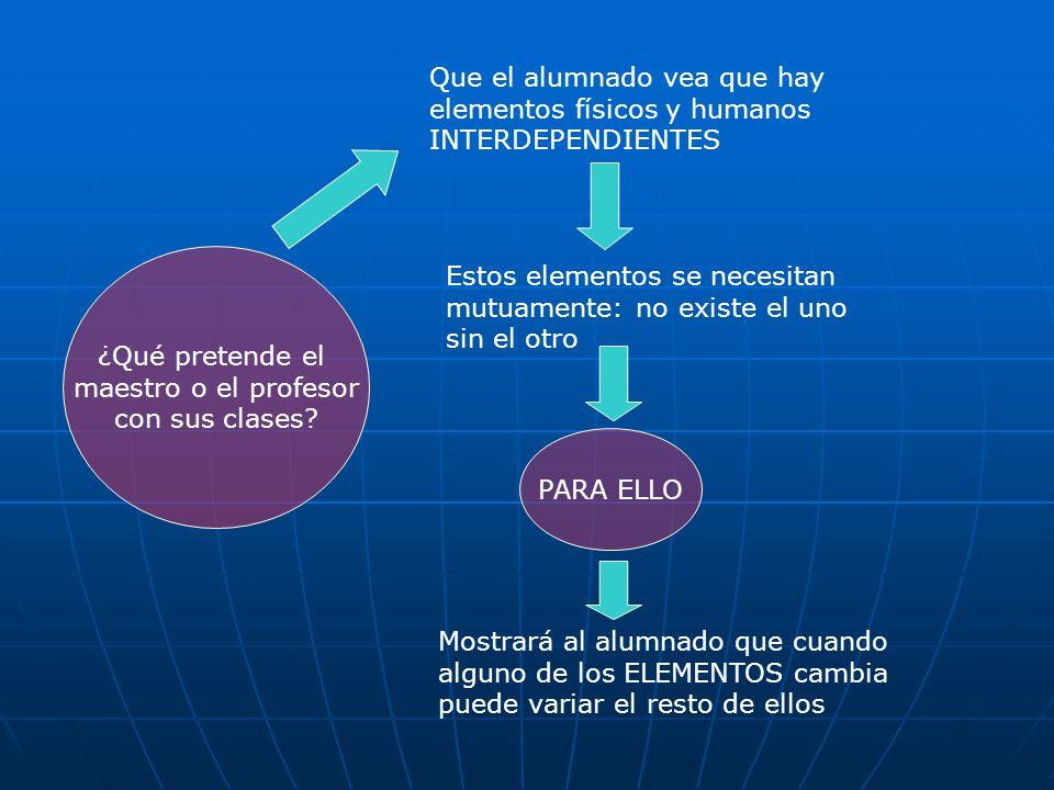 ¿Qué pretende el maestro o el profesor con sus clases? Que el alumnado vea que hay elementos físicos y humanos INTERDEPENDIENTES Estos elementos se ne