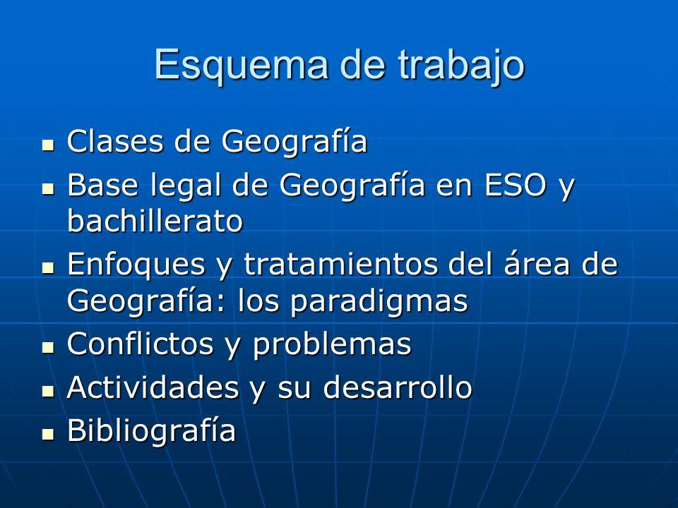 Esquema de trabajo Clases de Geografía Clases de Geografía Base legal de Geografía en ESO y bachillerato Base legal de Geografía en ESO y bachillerato