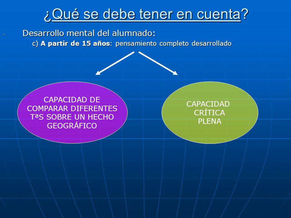 ¿Qué se debe tener en cuenta? - Desarrollo mental del alumnado: c) A partir de 15 años: pensamiento completo desarrollado CAPACIDAD DE COMPARAR DIFERE