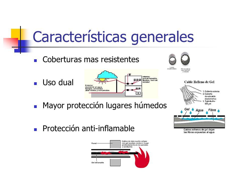 Características generales Coberturas mas resistentes Uso dual Mayor protección lugares húmedos Protección anti-inflamable