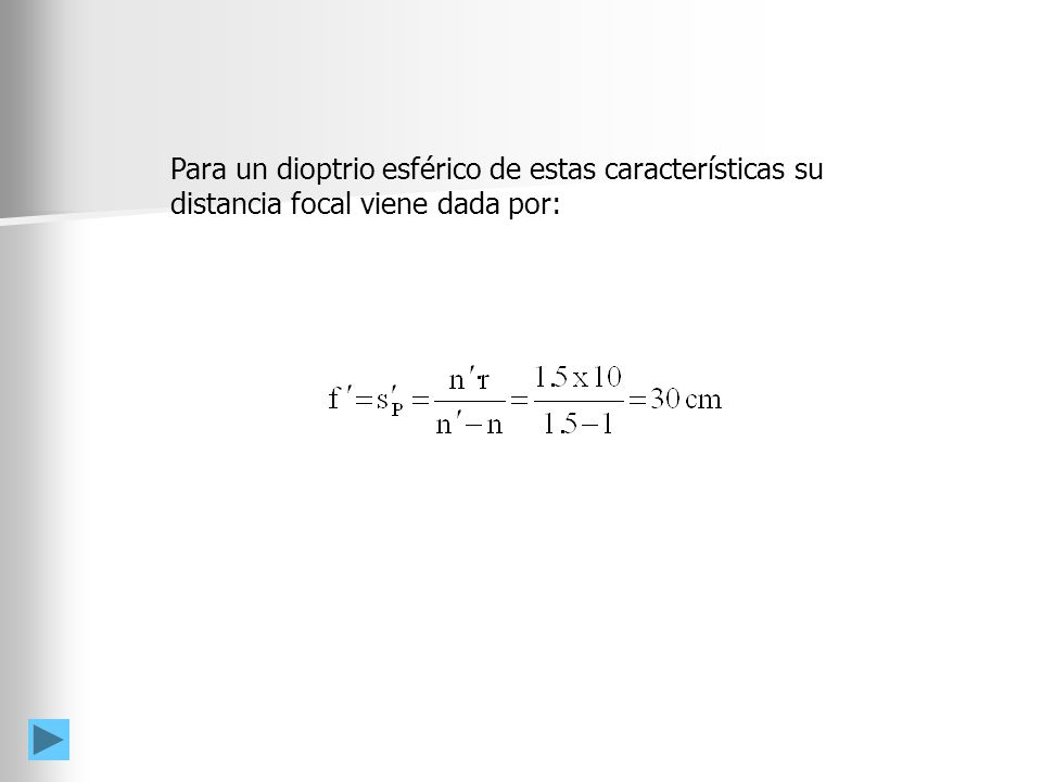 F´ AET AEL h s´ h f´ = s´ P n = 1.5 n = 1 Las aberraciones esféricas transversal (AET) y longitudinal (AEL) se deben a que fuera de las condiciones paraxiales, un rayo que incida paralelo a la superficie esférica no corta al eje óptico en el punto focal imagenaberraciones esféricas transversal (AET) y longitudinal (AEL) Las aberraciones esféricas AEL y AET vendrán dadas por: