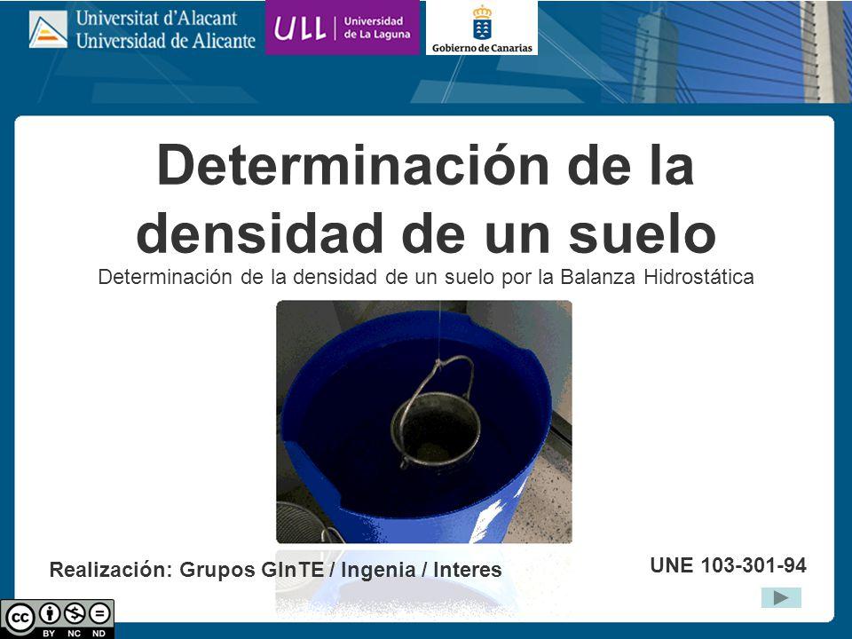 Determinación de la densidad de un suelo Determinación de la densidad de un suelo por la Balanza Hidrostática UNE 103-301-94 Realización: Grupos GInTE / Ingenia / Interes