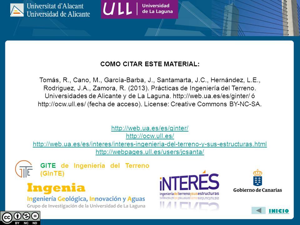 COMO CITAR ESTE MATERIAL: Tomás, R., Cano, M., García-Barba, J., Santamarta, J.C., Hernández, L.E., Rodriguez, J.A., Zamora, R. (2013). Prácticas de I