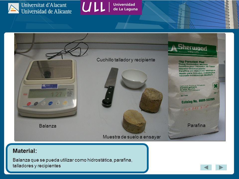 Material: Balanza que se pueda utilizar como hidrostática, parafina, talladores y recipientes Parafina Muestra de suelo a ensayar Balanza Cuchillo tallador y recipiente