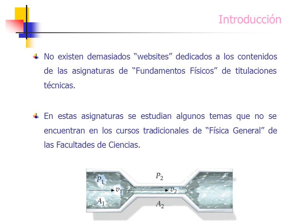 Introducción No existen demasiados websites dedicados a los contenidos de las asignaturas de Fundamentos Físicos de titulaciones técnicas. En estas as