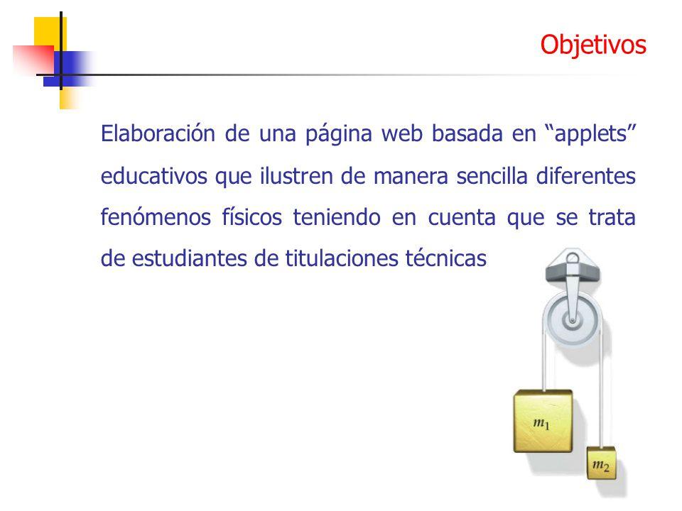 Elaboración de una página web basada en applets educativos que ilustren de manera sencilla diferentes fenómenos físicos teniendo en cuenta que se trat