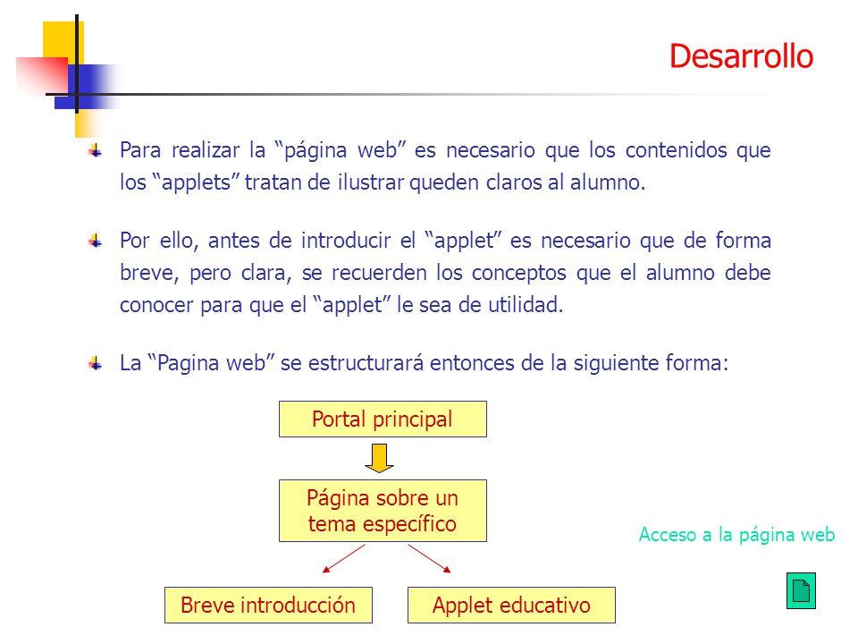 Para realizar la página web es necesario que los contenidos que los applets tratan de ilustrar queden claros al alumno. Por ello, antes de introducir