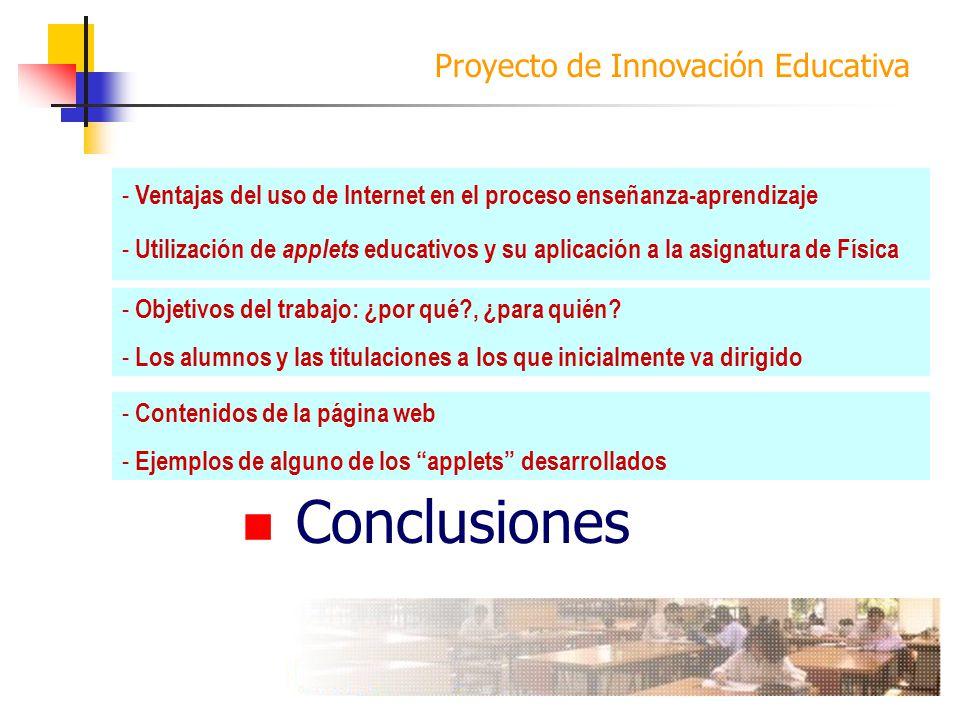 Proyecto de Innovación Educativa Introducción Objetivos Desarrollo Conclusiones - Ventajas del uso de Internet en el proceso enseñanza-aprendizaje - U