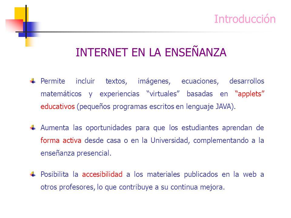 Introducción Permite incluir textos, imágenes, ecuaciones, desarrollos matemáticos y experiencias virtuales basadas en applets educativos (pequeños pr