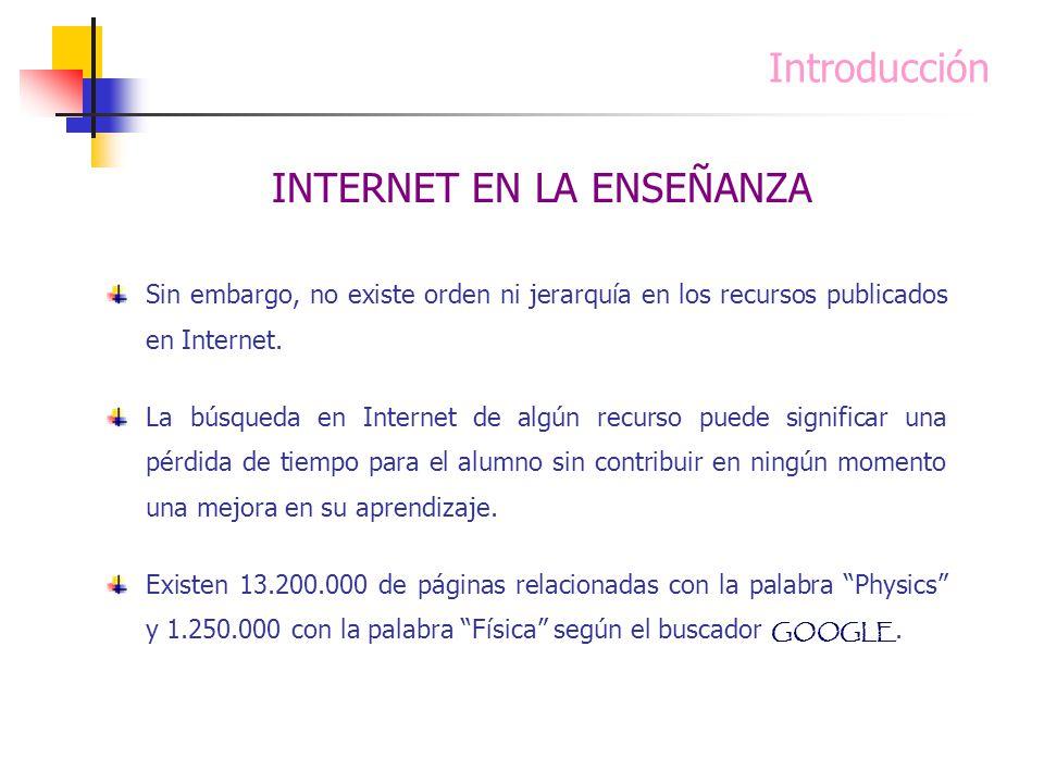 Introducción Sin embargo, no existe orden ni jerarquía en los recursos publicados en Internet. La búsqueda en Internet de algún recurso puede signific